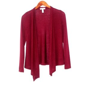 NWOT Rayon Blend Open Front Wine Color Cardigan
